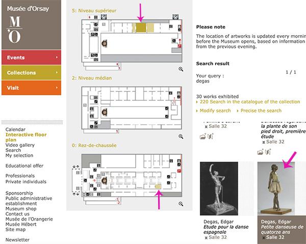 奧塞美術館平面圖導覽。檢索教學步驟2&3