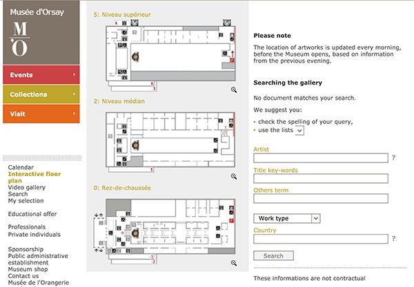 奧塞美術館平面圖導覽。檢索教學