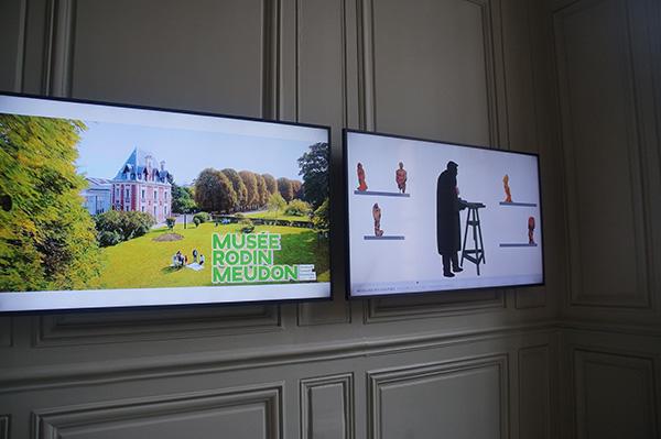 館內的電視牆,說明著羅丹的創作過程