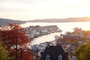 挪威縮影卑爾根,佛洛伊恩山夕陽風景