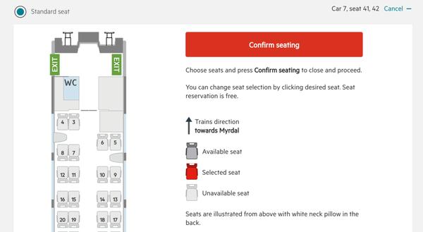 挪威縮影國鐵訂票教學,可以免費選擇親子車廂。