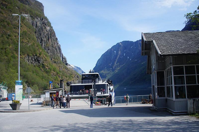 Gudvangen乘船處與下船處。