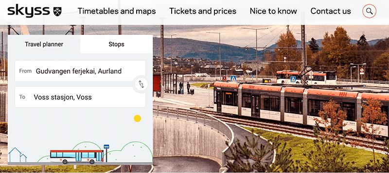 挪威縮影950巴士檢索頁
