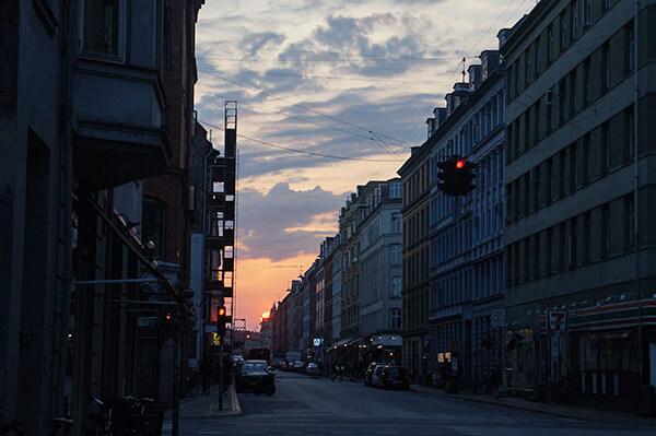 哥本哈根夕陽剪影。
