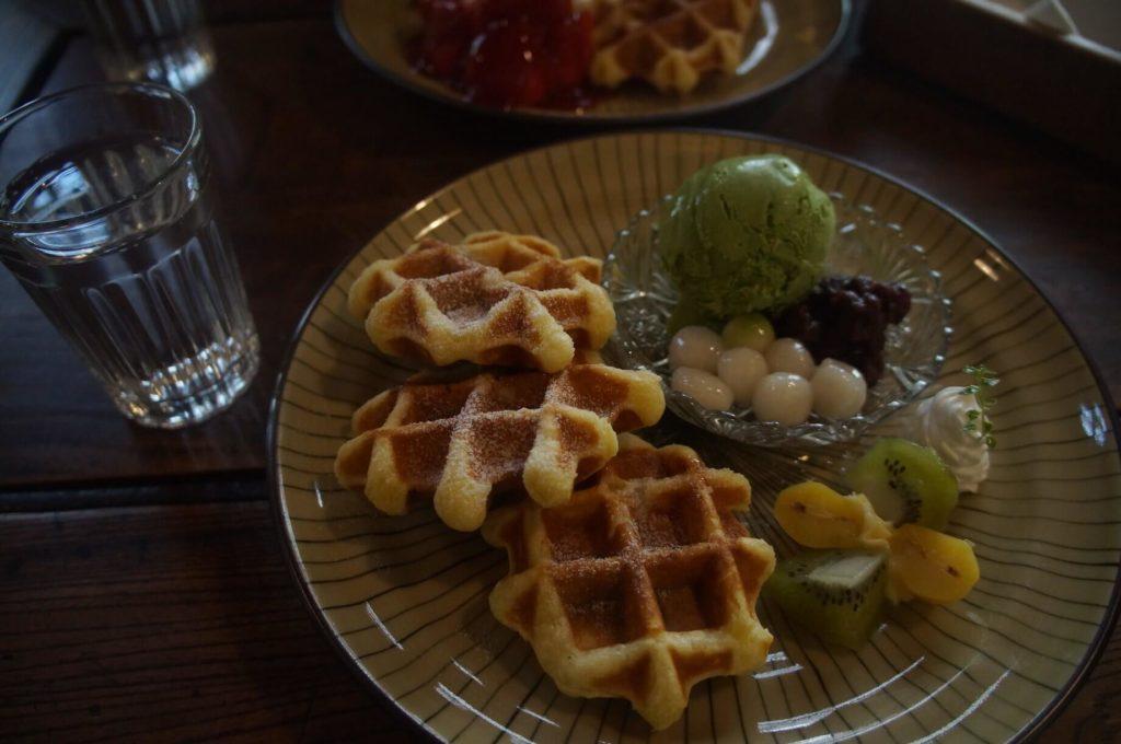 美味的日式抹茶鬆餅