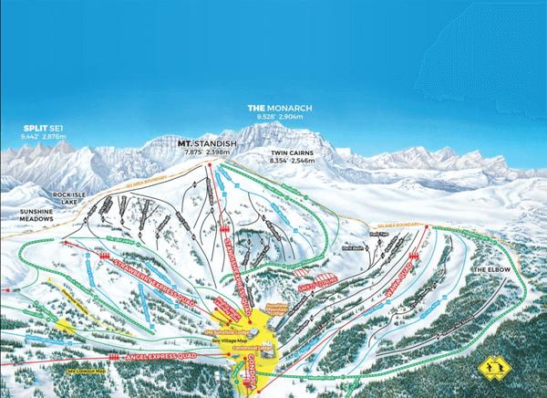 加拿大雪場,banff sunshine 官網地圖
