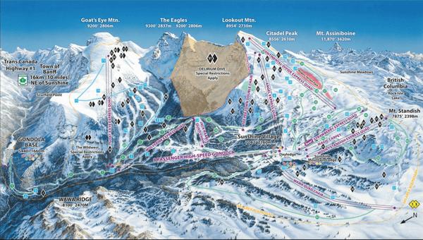 加拿大洛磯山脈 滑雪,sunshine village雪道圖,加拿大雪場。