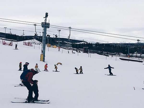 左下角夾著小朋友滑雪的父母!我們都開玩笑說我們玩沙長大,加拿大人可是玩雪長大的呢!