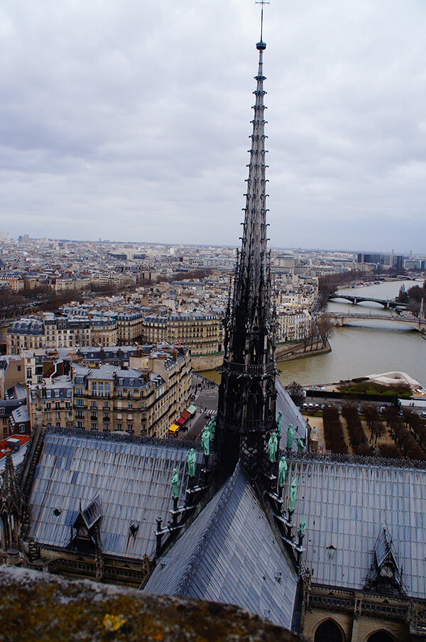 從最上方看巴黎聖母院這隻辨識度極高的黑塔,青銅色的聖人像,十分清晰與震撼。