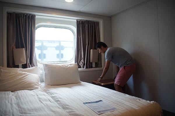 星夢郵輪探索夢號海景房,床超棒