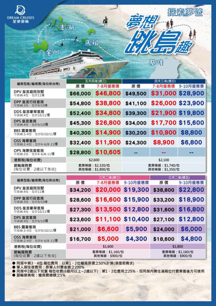 星夢郵輪跳島行-房型價格表,來源易遊網。星夢郵輪探索夢號房型價格,