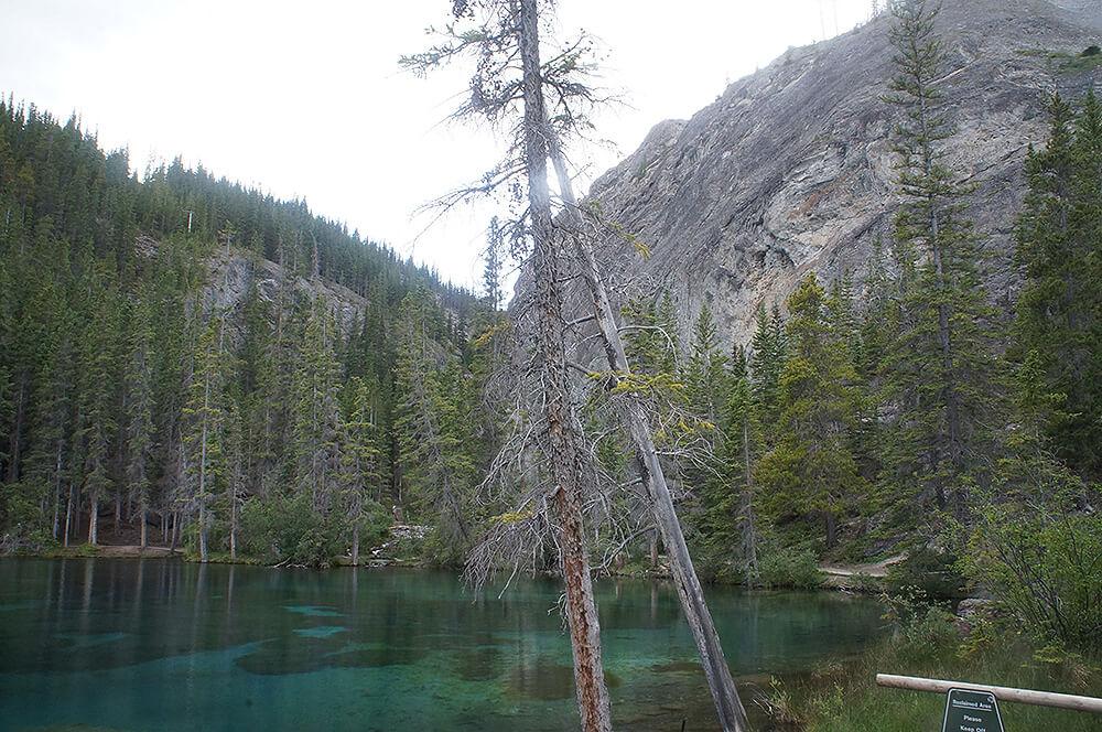 夏季的Grassi Lakes. 幸運烏雲剛好散去。
