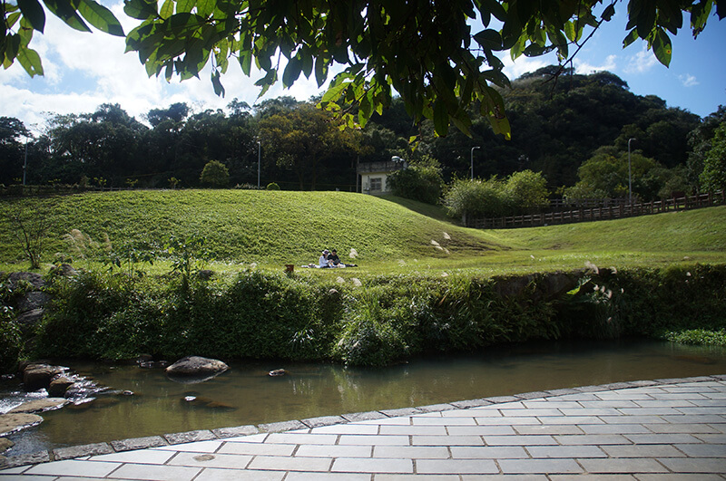 山腳的大溝溪生態園區。