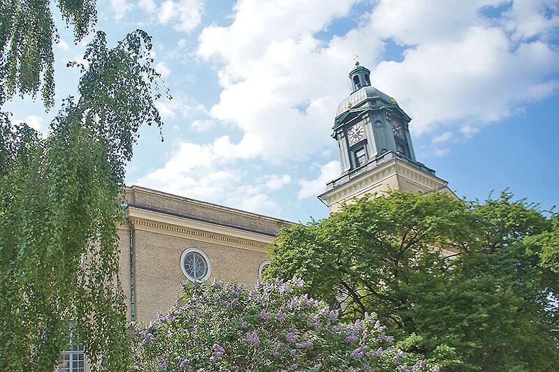 市區哥特堡大教堂的外觀,可愛的塔樓。