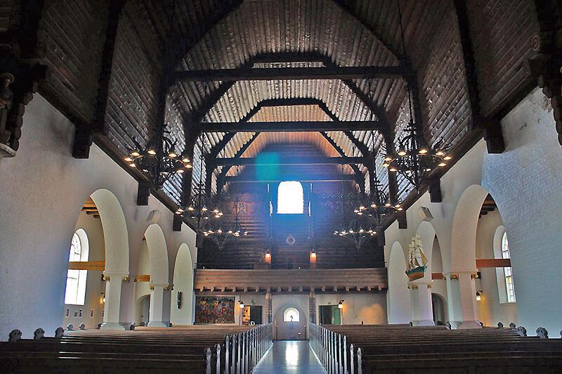 Masthuggskyrkan(馬斯塔蓋特教堂)內部的木製屋頂。