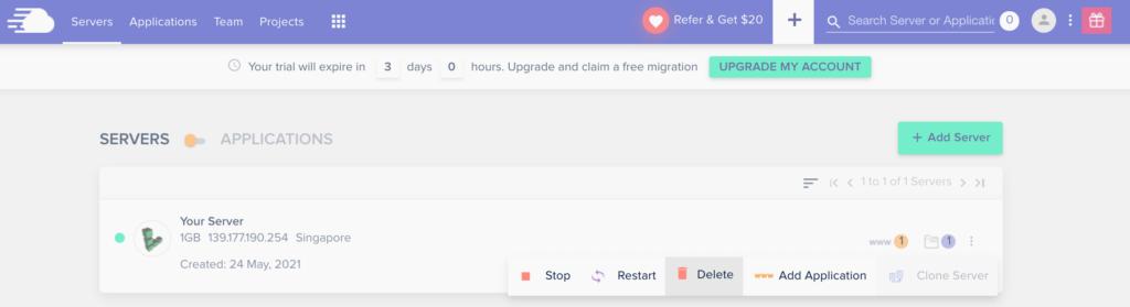 從小menu叫出粉紅垃圾桶點擊「Delete」就可完成cloudways停用。