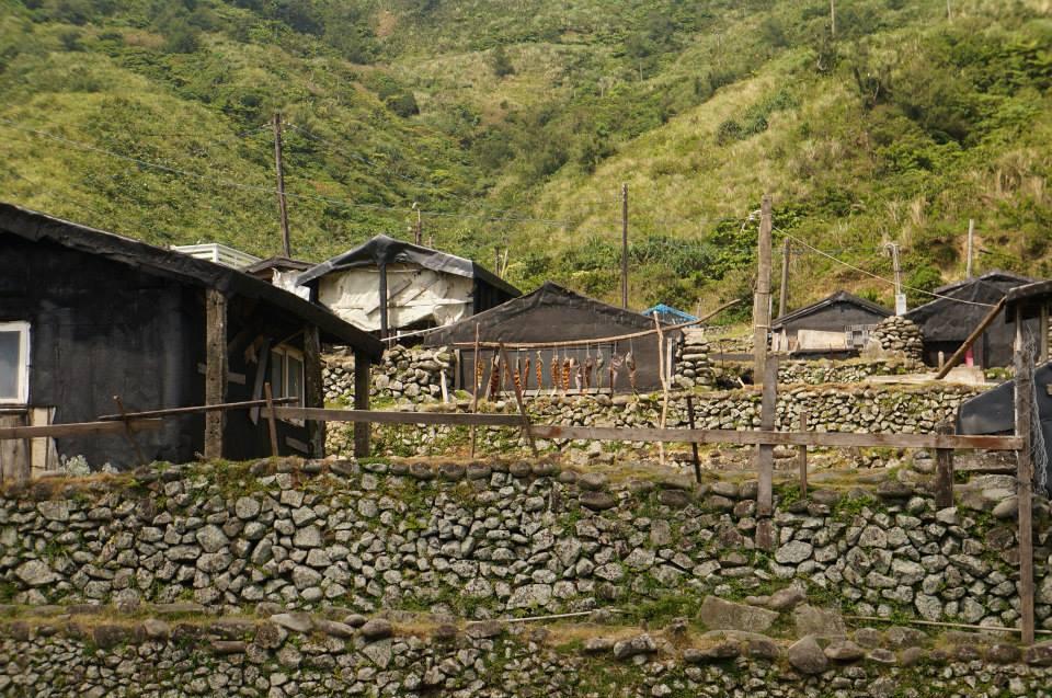 飛魚與一層一層的傳統家屋。