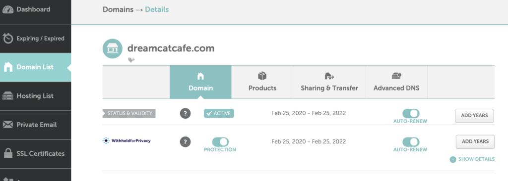 namecheap DNS設定教學,進到Dashboard中的網域(domain)管理介面。
