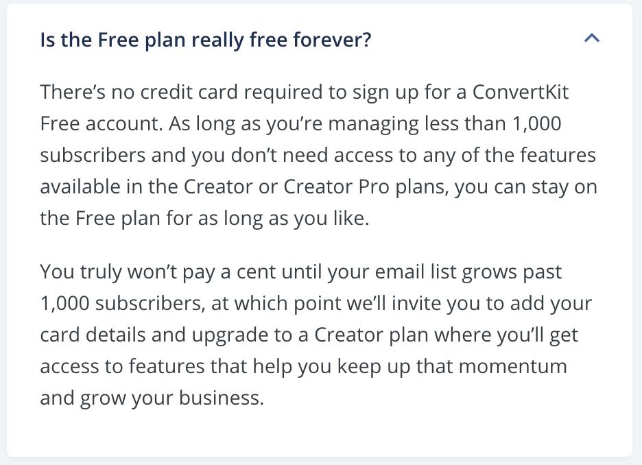 ConvertKit官網重要QA1免費版可永久使用嗎?