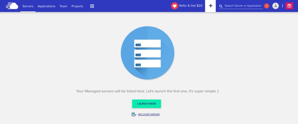 可以回到cloudways首頁,點擊「Recover Server」(回覆服務)