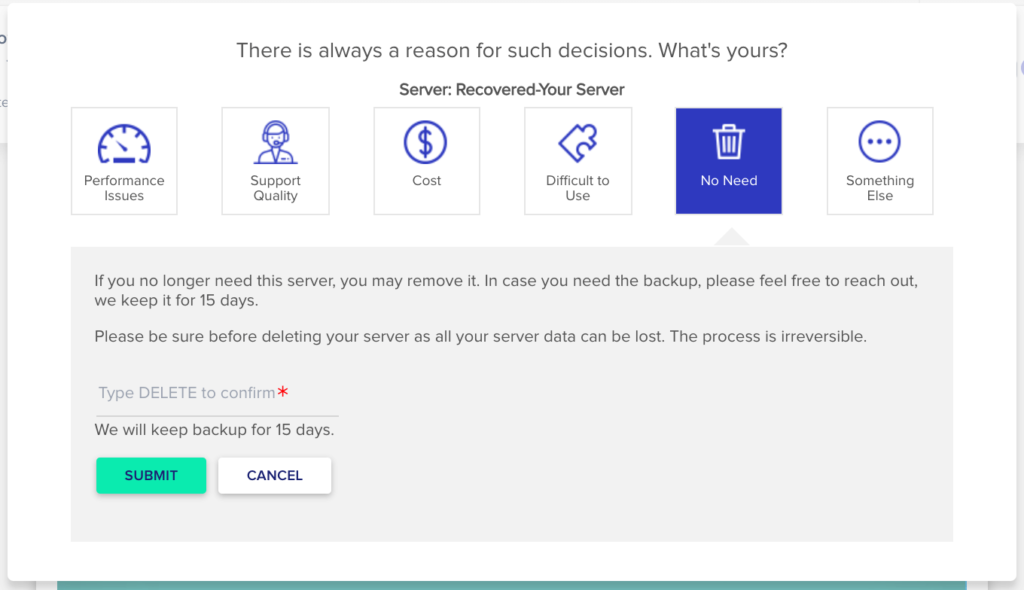 cloudways會請你選擇停止使用原因,問卷調查。
